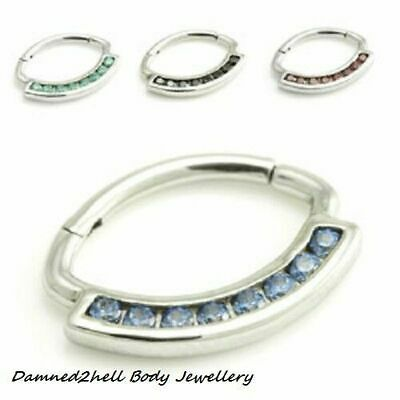 SURGICAL STEEL DAITH or SEPTUM RING WITH CRYSTALS ~ HINGED OVAL SHAPE 1.2mm