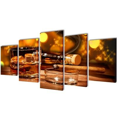 Set of 5 Whiskey and Cigar Canvas Prints Framed Wall Art Decor Painting 100x50cm