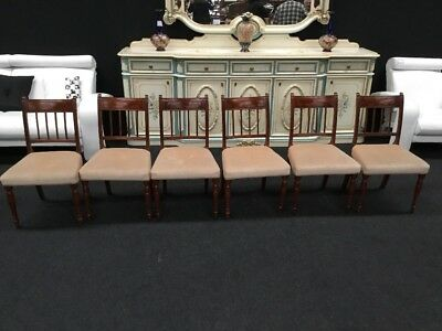 Set Of 6 Antique Regency Mahogany Dining Chairs Great Value