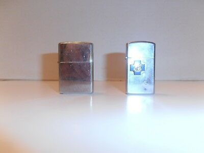 1 Lot Of 2 Vintage Zippo Lighters A Slim Lighter With Logo And A Plain Lighter