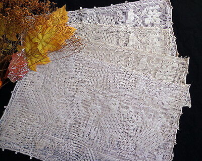 Authentic Antique Italian Handmade BURATTO FIGURAL LACE Place Mats ZOOMORPHIC