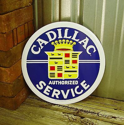 "Cadillac Authorized Service Caddy Logo Metal Tin Sign 12"" Mechanic Garage Car"