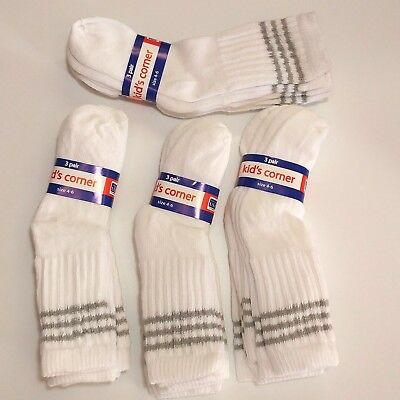 Lot 12 Pair Boys Cotton Crew Socks White Gray Striped Size 4-6 Shoe Size 7-11