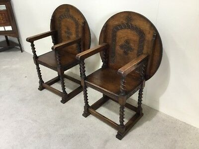 Pair Of Antique Oak Monks Bench Chairs Barley Twist Rare To Find A Pair