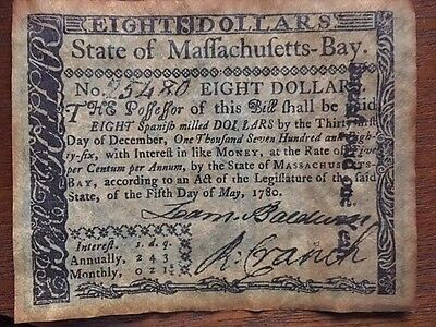 1780 Colonial Currency-Massachusetts Bay-EIGHT DOLLARS- REPRO