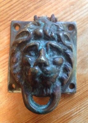 Solid Brass Old Reclaimed Lion Keyhole Cover Escutcheon Knocker Salvage Vintage