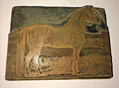 Antique Horse Copper Engraving Printing Plate Block Routed HTF Guranteed Old
