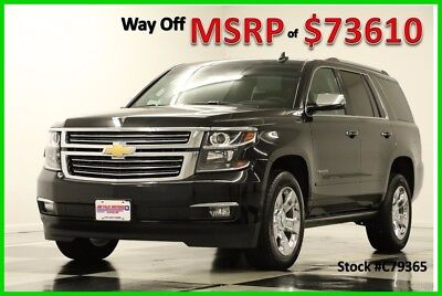 2017 Chevrolet Tahoe MSRP$73610 4X4 Premier DVD GPS Sunroof Black 4WD New Navigation Player Heated Cooled Captains Chairs 7 Passenger Luxury SUV