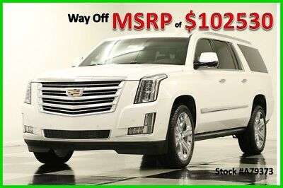2017 Cadillac Escalade MSRP$102530 4WD Platinum DVD Sunroof White Diamond New 4 Screens Heated Cooled Leather Seats Cyrstal Navigation 4X4 7 Passenger 6.2