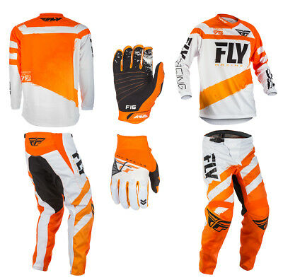 Fly Racing F-16 Adult Combo Kit -ORANGE / WHITE - 28-42 Pants, Jersey & Gloves