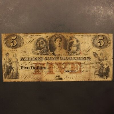 Canada - Farmer's Joint Stock Bank 5 Dollars 2.1.1849 P#S1769 Banknote F+