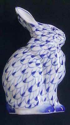 "Vintage Andrea By Sadek 5.5""h Rabbit Blue And White Porcelain Hand Painted"