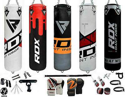 RDX Unfilled 13Pc Punching Bag MMA Boxing Punch Gloves Training Kicking Empty US