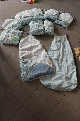 Lot Ensemble Tour De Lit Vertbaudet+2 Draps Housse + 2 Gigoteuses Assortis Theme