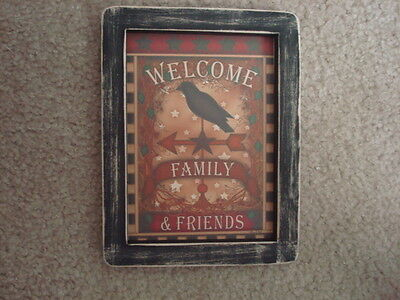 """Primitive Country Print *CROW--WELCOME* in black frame 8 1/2"""" x 11"""""""
