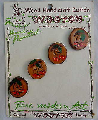 Vintage Antique Wood Buttons Set of 4 Cherry Cherries Mint on Card Wooton
