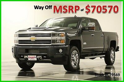 2017 Chevrolet Silverado 2500 MSRP$70570 4X4 High Country Diesel DVD Sunroof Gra New 2500HD Duramax GPS Navigation Heated Cooled Black Leather Graphite Crew Cab