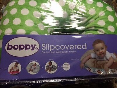 NEW BARE NAKED BOPPY PILLOW WITH COVER SLIPCOVERED GREEN WHITE DOTS NIP 0-12 Mos