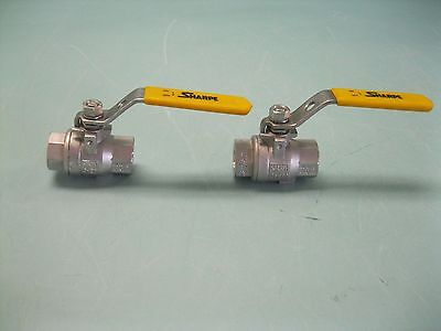 "Lot (2) 1/2"" NPT Sharpe 1000# CWP Stainless Steel Ball Valve L12 (2210)"