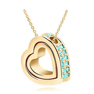 NEW Women Double Heart Sky blue Crystal Gold Charm Pendant Chain Necklace OB4S5