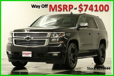 2017 Chevrolet Tahoe MSRP$74100 Premier DVD Sunroof Leather Black 4WD 4X4 GPS Navigation Heated Cooled Seats 22 In Rims Midnight Edition 16 2016 17