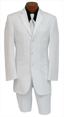 White Gangster Zoot Suit Tuxedo Jacket w/ Pants Halloween Costume Discount