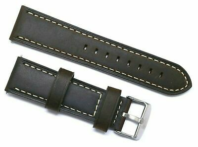 22mm Brown Old Style Crazy Horse Leather Replacement Watch Strap - TW Steel 22
