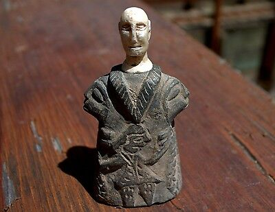 Fabulous Ancient Hand Carved Bactrian Male Statue Chlorite Composite Figurine