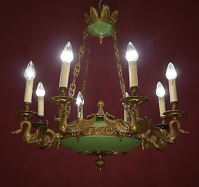 8 LIGHT BIG EMPIRE SWAN FIGURE FRENCH CHANDELIER BRASS  vintage old antique
