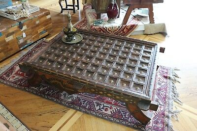 Living Room Coffee table Hand Carved W/ Brass Patina Designer Decor