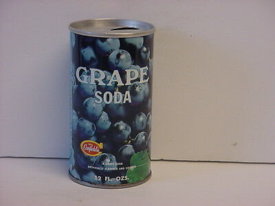 Vintage 1971 Canfield's Grape Soda Straight Steel Pull Tab Top Opened Pop Can