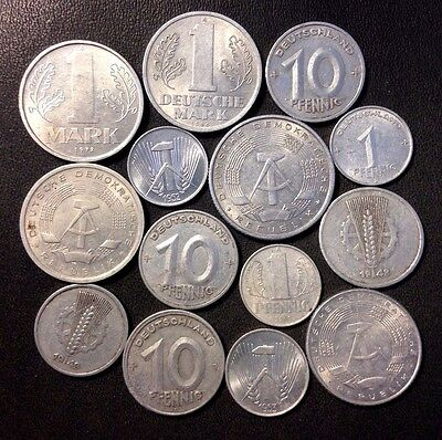 Old East Germany/DDR Coin Lot - High Grade/Early Dates - 14 Coins - Lot #818