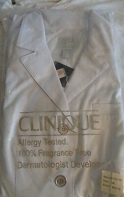 New Clinique Lab coat for cosmetic consultant size 4 white Teflon protected