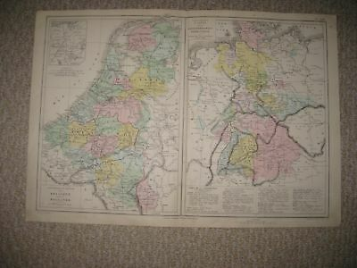 Antique 1874 Belgium Holland Waterloo Germany Prussia Handcolored French Map Nr