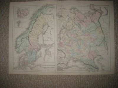Antique 1874 Scandinavia Denmark Sweden Norway Russia Handcolored French Map Nr