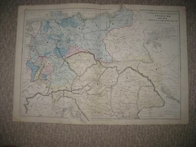 Superb Antique 1874 Austria Germany Prussia Hungary Handcolored French Map Rare