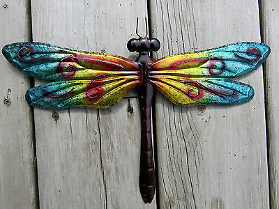 Metal Dragonfly Turquoise Gold 12.25 In. Fence/patio Art Outdoor Decor Yard Art