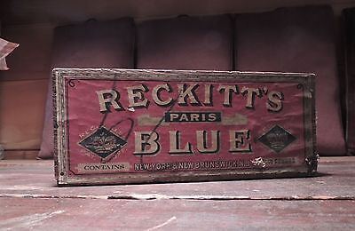 Antique Primitive 1890s Reckitt's Paris Blue Wooden Advertising Box Laundry Soap