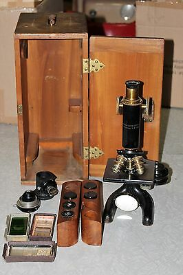 Antique Brass & Steel  Bausch & Lomb Optical Co Microscope & Case & Extras