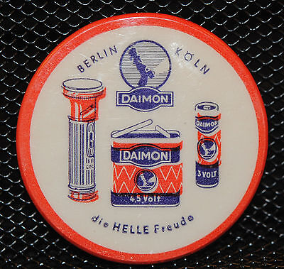 Daimon Battery Germany Celluloid  Advertising Mirror  Ex