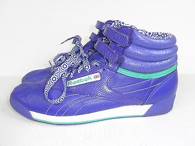 Vintage Reebok Classics High Top Shoes Women's 8 Retro Sneakers Purple 80's 90's
