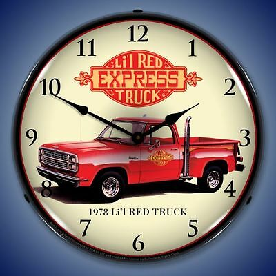 New 1978 Dodge Lil Red Express truck hot rod exhaust stacks LIGHT UP clock