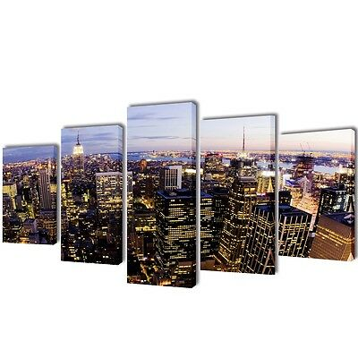 Set of 5 New York Skyline Canvas Prints Framed Wall Art Decor Painting 100x50cm