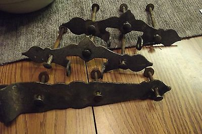 Large Vtg Black Metal Barn Door Gate Strap Hinges Unique Salvage