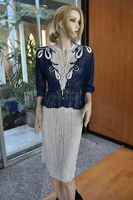 Lim's Vintage All Hand Made Cotton Crochet Skirt/Top Set Pearl Buttons  Blue/Whi
