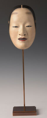 Early 20th C., Showa, Japanese Wooden Lady Mask