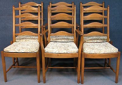 Set Of 6 (4 & 2) Ercol Solid Elm 823 Ladder Back Kitchen / Dining Chairs G Dawn