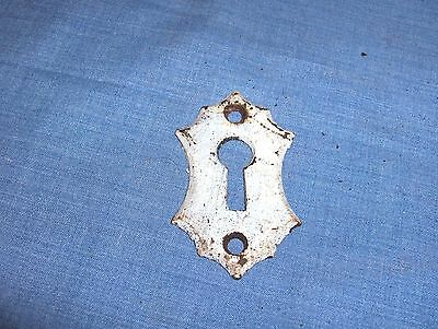 #1203 - Original Antique Brass Tone Steel Escutcheon, Keyhole