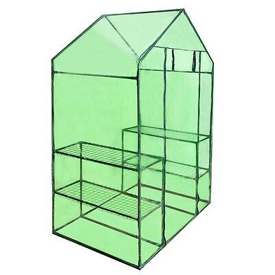 S#Walk In Greenhouse Garden Green House Plant Shed PVC Cover Apex Roof 4 Shelves