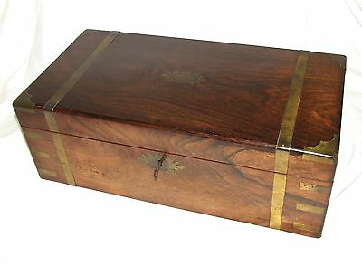 Antique Victorian ROSEWOOD & Brass Writing Box Slope with THREE SECRET DRAWERS